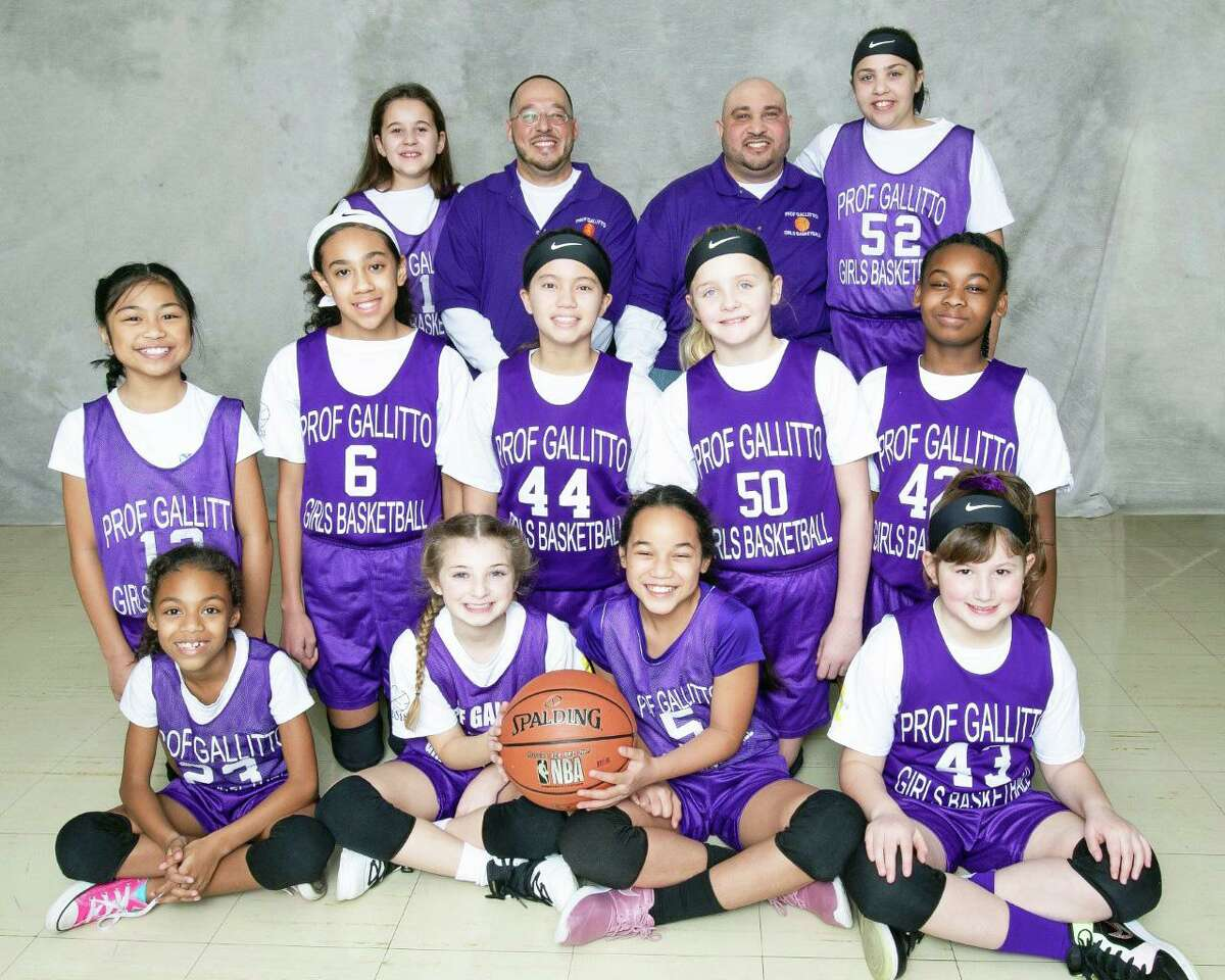 The championship game for the Prof. Gallitto girls basketball teams in grades three through five was played Feb. 23. The winner was a team named after the late former player, Tanaja Green. They were coached by Keith Hunter, top row, right; and Chris Cawley, top row, left. Cawley was presented with a lifetime achievement award by the league for his more than two decades as a volunteer coach.