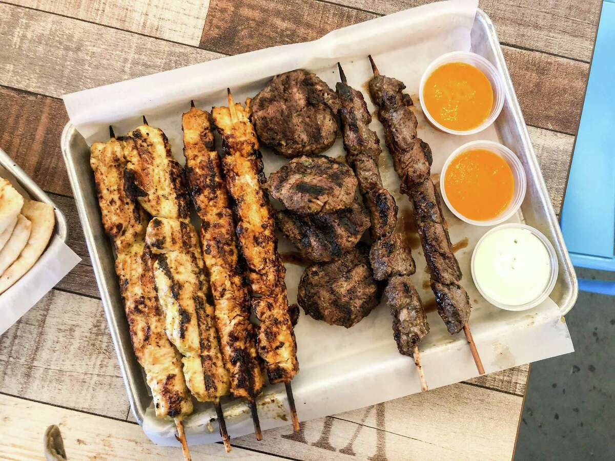 Souvlaki tray (chicken, ground beef and beef tenderloin) at Just GRK