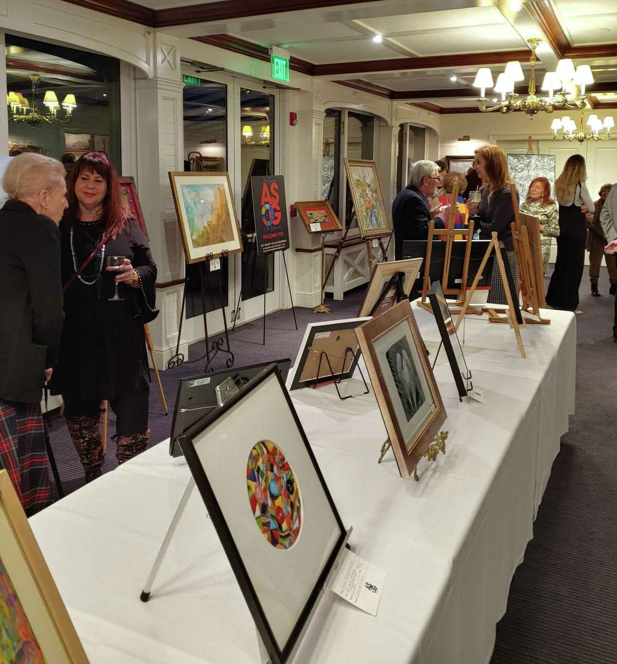 The art exhibit at ASOG 2020 Winterfest, where artists enjoyed chatting and viewing the artworks.