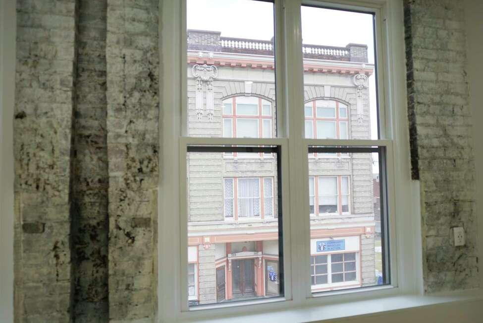 A view looking out one of the micro apartments at 95 Remsen Street on Thursday, Feb. 27, 2020, in Cohoes, N.Y. The building has eight new micro apartments. The apartments range in size from 300 to 550 square feet, and the rent will range from $750 to $1100 a month. (Paul Buckowski/Times Union)