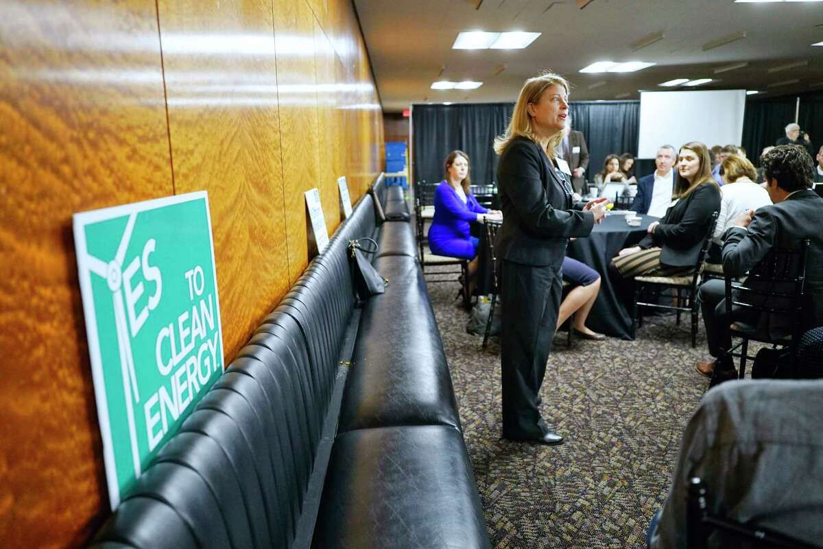 Anne Reynolds, executive director of Alliance for Clean Energy New York speaks at a legislative breakfast hosted by renewable energy advocates on Thursday, Feb. 27, 2020, in Albany, N.Y. (Paul Buckowski/Times Union)