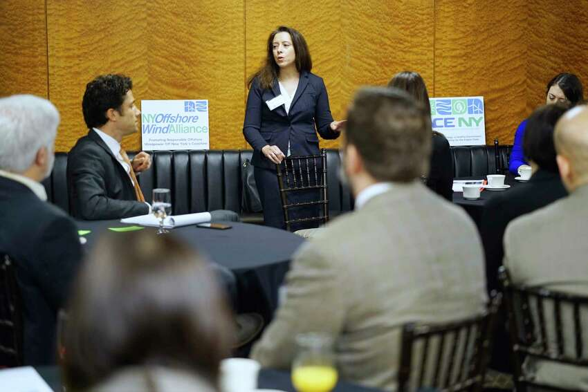 Jenn Maglienti, assistant counsel to the Governor's office, speaks at a legislative breakfast hosted by renewable energy advocates on Thursday, Feb. 27, 2020, in Albany, N.Y. (Paul Buckowski/Times Union)