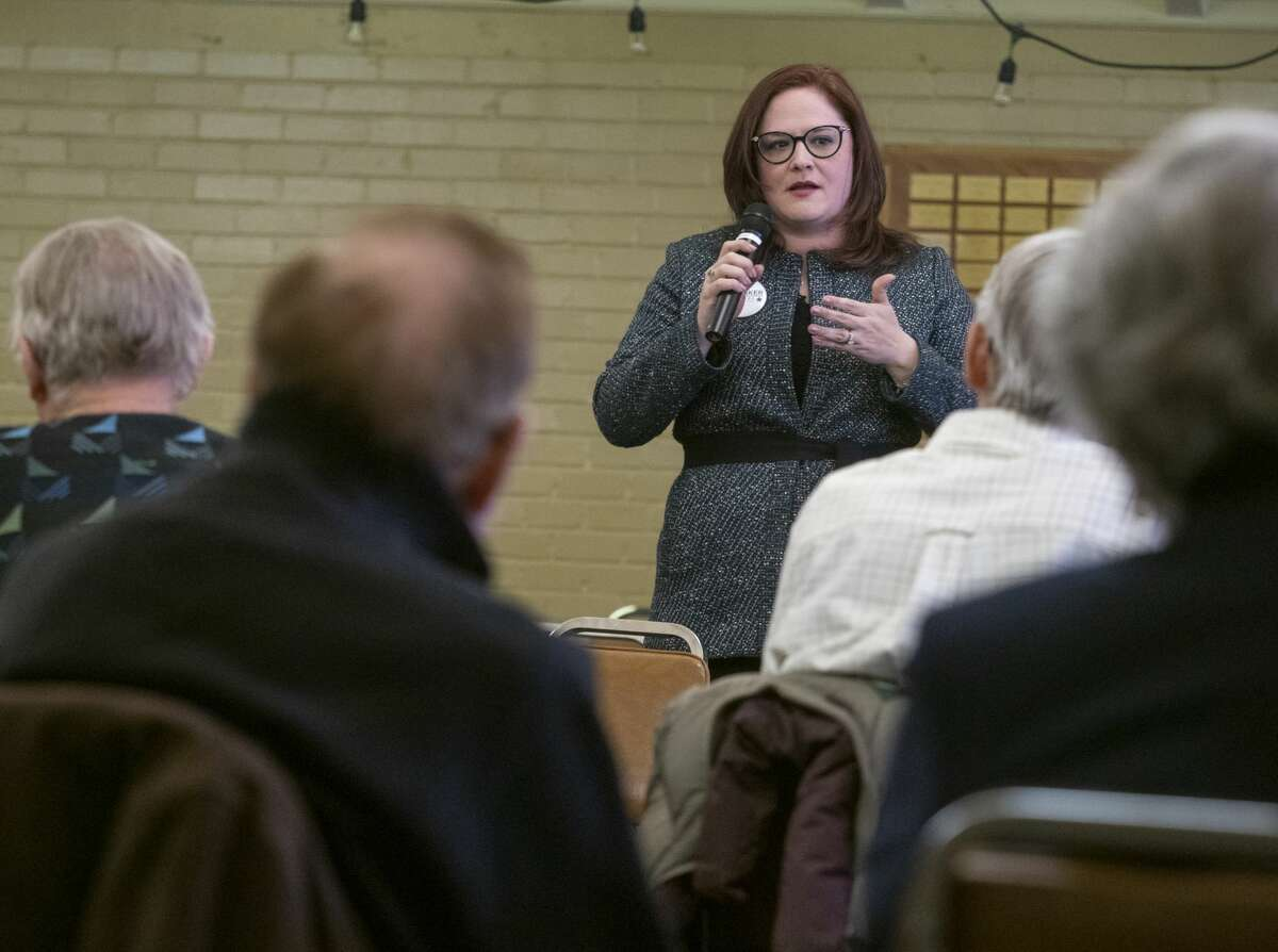 Mary Baker, candidate for the Judge of District 142nd Court, speaks 02/27/2020 during a candidate forum with Rotary at Holy Trinity Episcopal Church. Tim Fischer/Reporter-Telegram