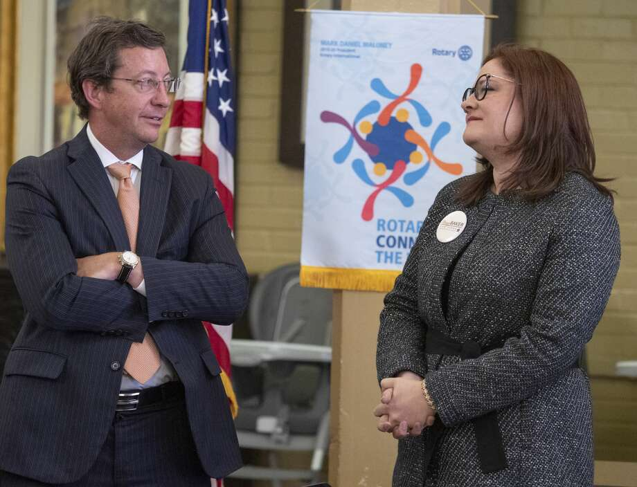 David Rogers and Mary Baker, candidates for the Judge of District 142nd Court, speak before the Rotary luncheon 02/27/2020 during a candidate forum with Rotary at Holy Trinity Episcopal Church. Tim Fischer/Reporter-Telegram Photo: Tim Fischer/Midland Reporter-Telegram