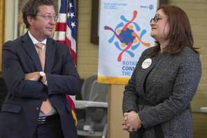 David Rogers and Mary Baker, candidates for the Judge of District 142nd Court, speak before the Rotary luncheon 02/27/2020 during a candidate forum with Rotary at Holy Trinity Episcopal Church. Tim Fischer/Reporter-Telegram