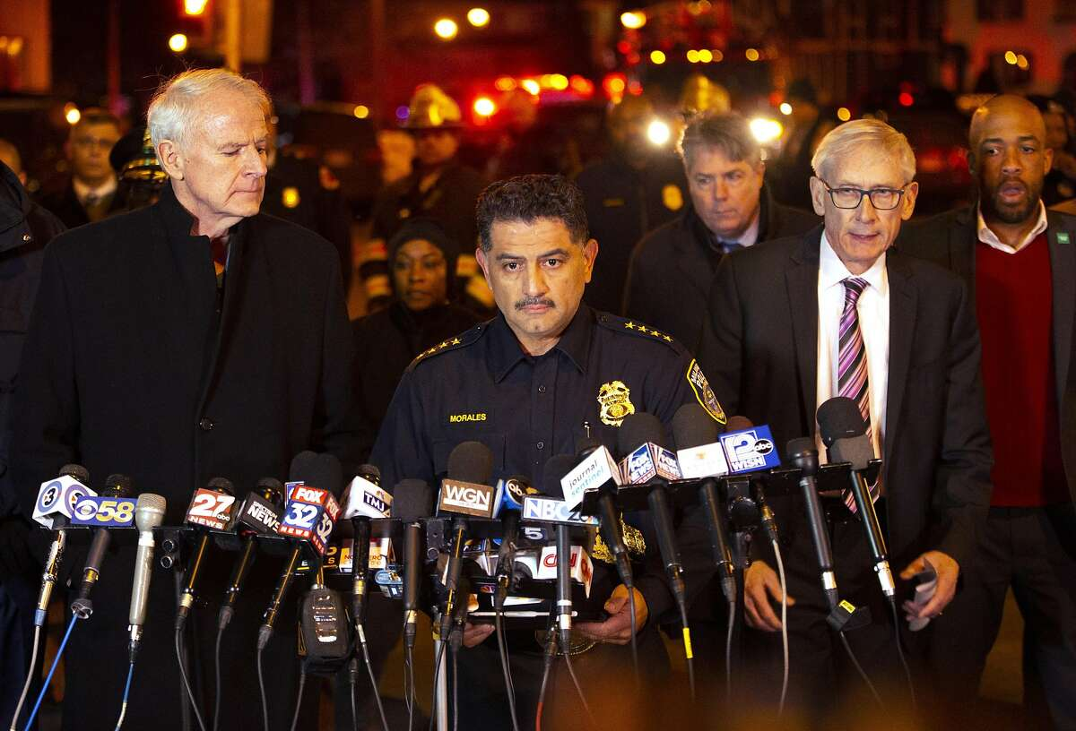 MILWAUKEE, WISCONSIN - FEBRUARY 26: (L-R) Milwaukee Mayor Tom Barrett, Police Chief Alfonso Morales and Wisconsin Governor Tony Evers speak to the media following a shooting at the Molson Coors Brewing Co. campus on February 26, 2020 in Milwaukee, Wisconsin. Six people, including the gunman, were reportedly killed when an ex-employee opened fire at the MillerCoors building on Wednesday. (Photo by Nuccio DiNuzzo/Getty Images)