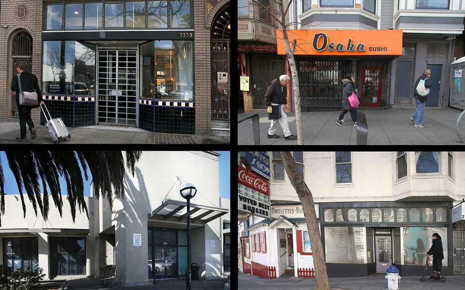 Vacant storefronts abound around San Francisco. Photo: Photos By Liz Hafalia / The Chronicle