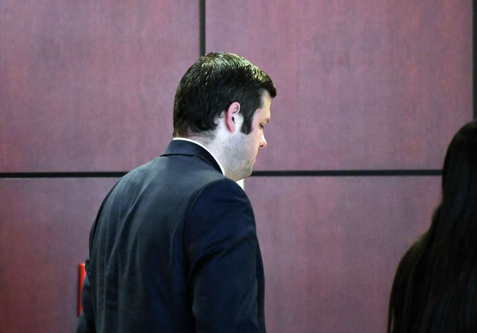 Attorney Steven Sharp enters Judge Peter Lynch's courtroom on Thursday, Feb. 27, 2020, in Albany, N.Y. The ex-prosecutor testified that no office policy prohibited him from working on the side for defense attorney Cheryl Coleman - a relationship former Coleman client Edward