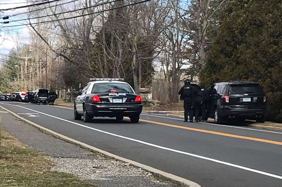 Newfield Avenue in Stamford was closed Thursday afternoon while police investigated a possible shooting. Photo: Daniela Forte / Contributed