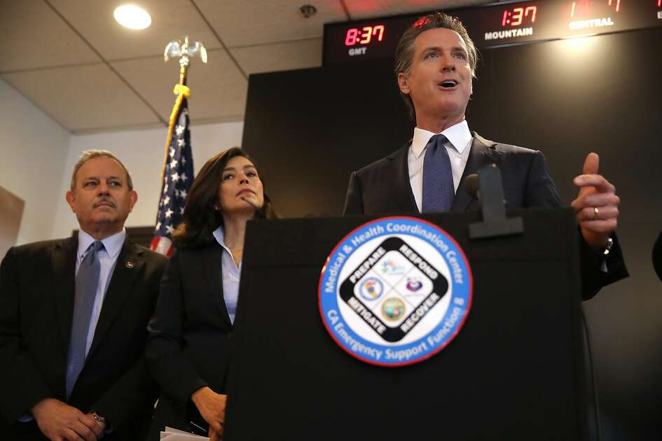 SACRAMENTO, CALIFORNIA - FEBRUARY 27: California Gov. Gavin Newsom speaks during a news conference at the California Department of Public Health on February 27, 2020 in Sacramento, California. California Gov. Gavin Newsom joined State health officials to an update to the public about the state's response to the Coronavirus known as COVID-19 a day after a possible first case of person-to-person transmission was reported in Northern California. (Photo by Justin Sullivan/Getty Images)