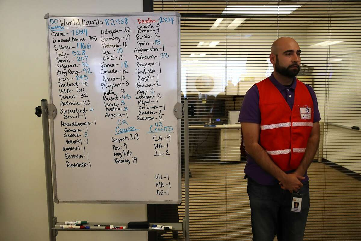 SACRAMENTO, CALIFORNIA - FEBRUARY 27: Narimon Mirza stands next a to a whiteboard showing the number of Coronavirus COVID-19 cases around the world at the Medical Health and Coordination Center at the California Department of Public Health on February 27, 2020 in Sacramento, California. California Gov. Gavin Newsom joined State health officials to an update to the public about the state's response to the Coronavirus known as COVID-19 a day after a possible first case of person-to-person transmission was reported in Northern California. (Photo by Justin Sullivan/Getty Images)