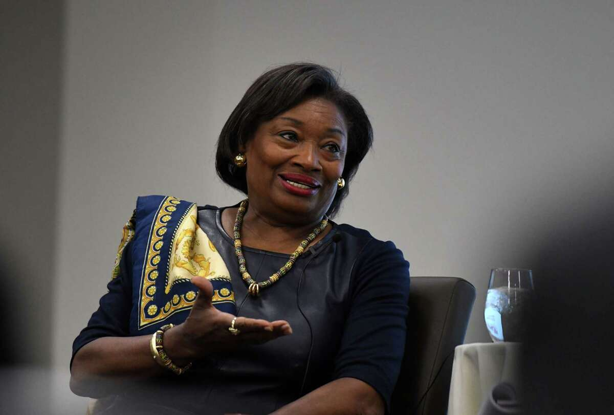 State Senate Democratic Leader Andrea Stewart-Cousins is interviewed by Times Union Editor and Vice President, Casey Seiler on Wednesday, Feb. 26, 2020, during a breakfast discussion held at the Hearst Media Center in Colonie, N.Y. (Will Waldron/Times Union)