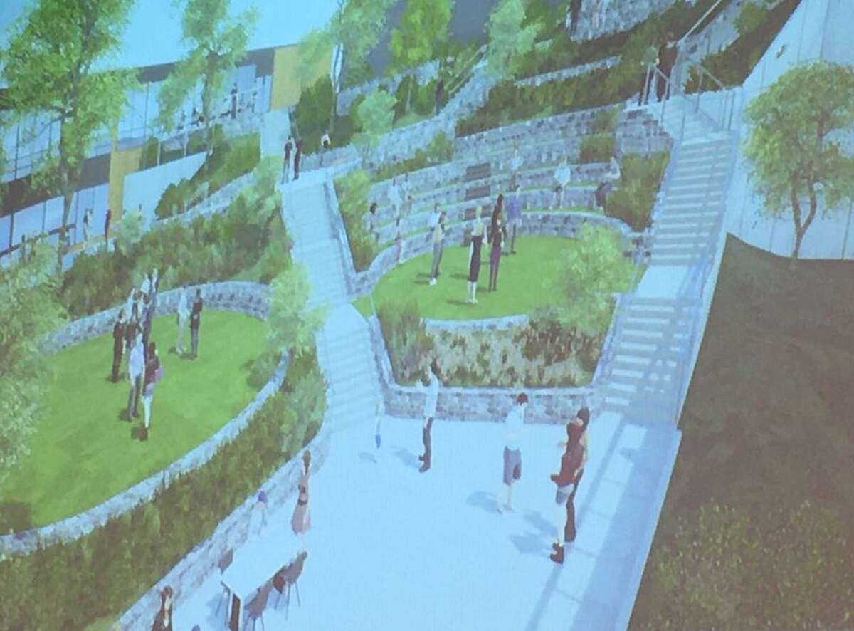 An upgrade to an outdoor plaza at Greenwich Academy is proposed