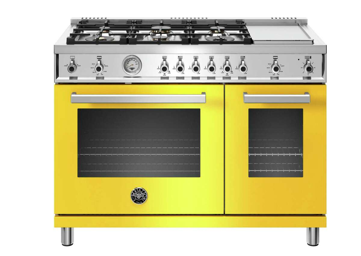 Bertazzoni's 48-inch Professional Series range comes in five colors, black, white, red, orange and yellow and sells for $9,095.