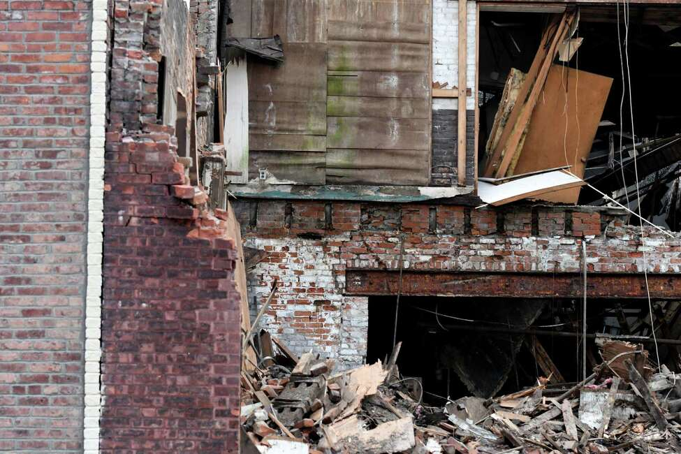 A former Freihofer's property on Elk Street is demolished after it was found to be unsafe on Thursday afternoon, Feb. 27, 2020, in Alabny, N.Y. (Will Waldron/Times Union)