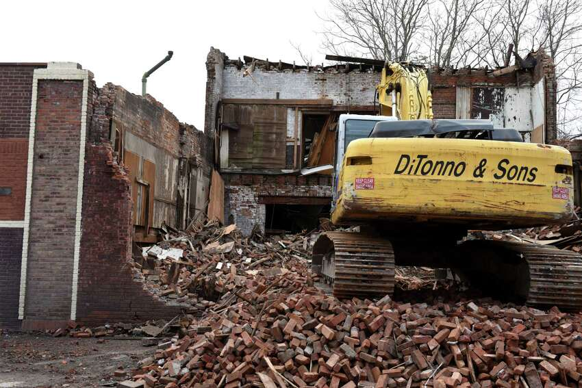The former Freihofer's bakery on Elk Street is demolished after it was found to be unsafe on Thursday afternoon, Feb. 27, 2020, in Alabny, N.Y. (Will Waldron/Times Union)