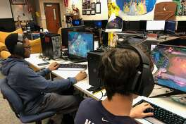 There are many jobs in the market for esports in a wide variety of roles, according to Gregg Kite, technology trainer for Humble ISD and President and CEO of the Texas Scholastic Esports Federation. With the introduction of a new esports class, they hope to give students an opportunity to explore fields within the industry that could be pursued in college and eventually work in the esports industry or elsewhere. Pictured: Jayden Lacombe, a junior at Atascocita High School.