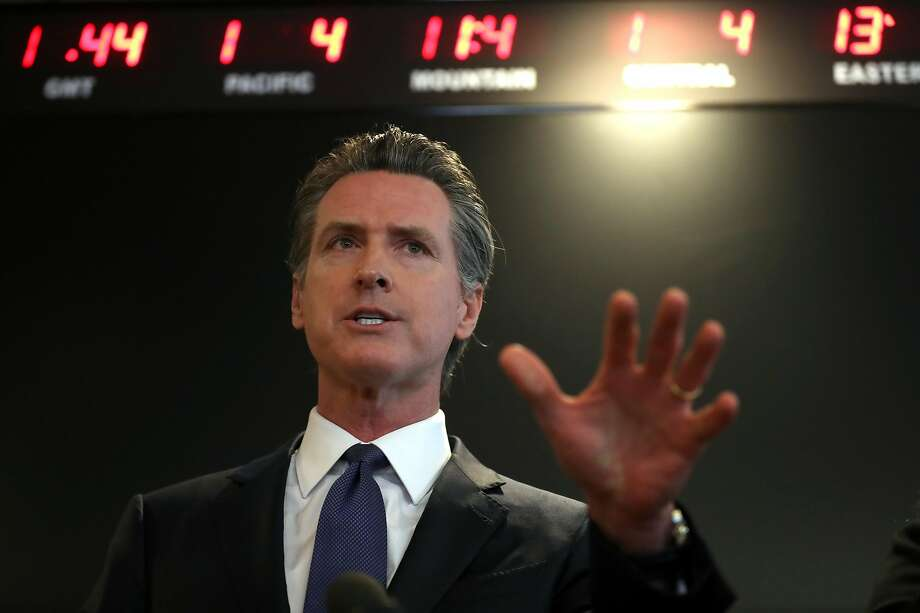 California Gov. Gavin Newsom speaks during a news conference at the California Department of Public Health on February 27, 2020 in Sacramento, California. California Gov. Gavin Newsom joined State health officials to an update to the public about the state's response to the Coronavirus known as COVID-19 a day after a possible first case of person-to-person transmission was reported in Northern California. Photo: Justin Sullivan / Getty Images