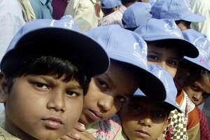 Children of the sex trade participate in a demonstration in Calcutta in 2001. The rally was organized by an NGO working in the city's red light districts.