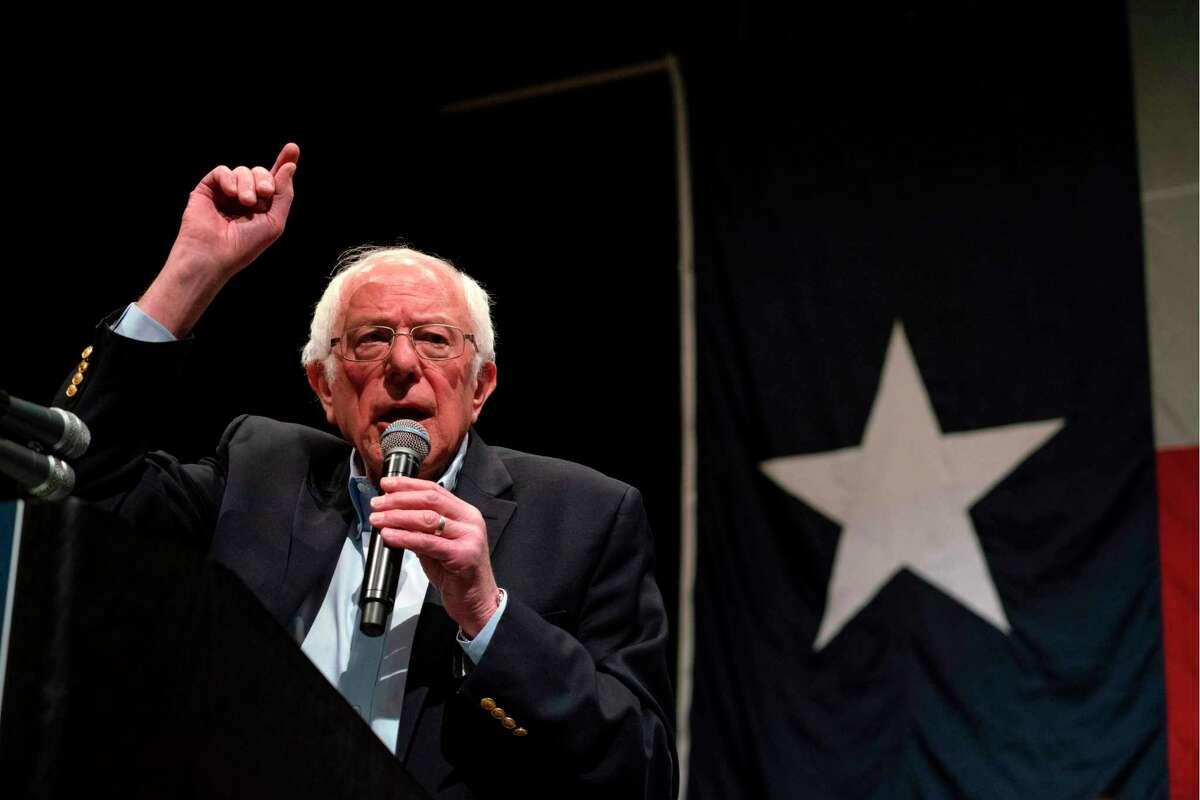 Democratic presidential hopeful Vermont Senator Bernie Sanders gestures as he speaks during a rally at the Abraham Chavez Theater in El Paso, Texas, Feb. 22.