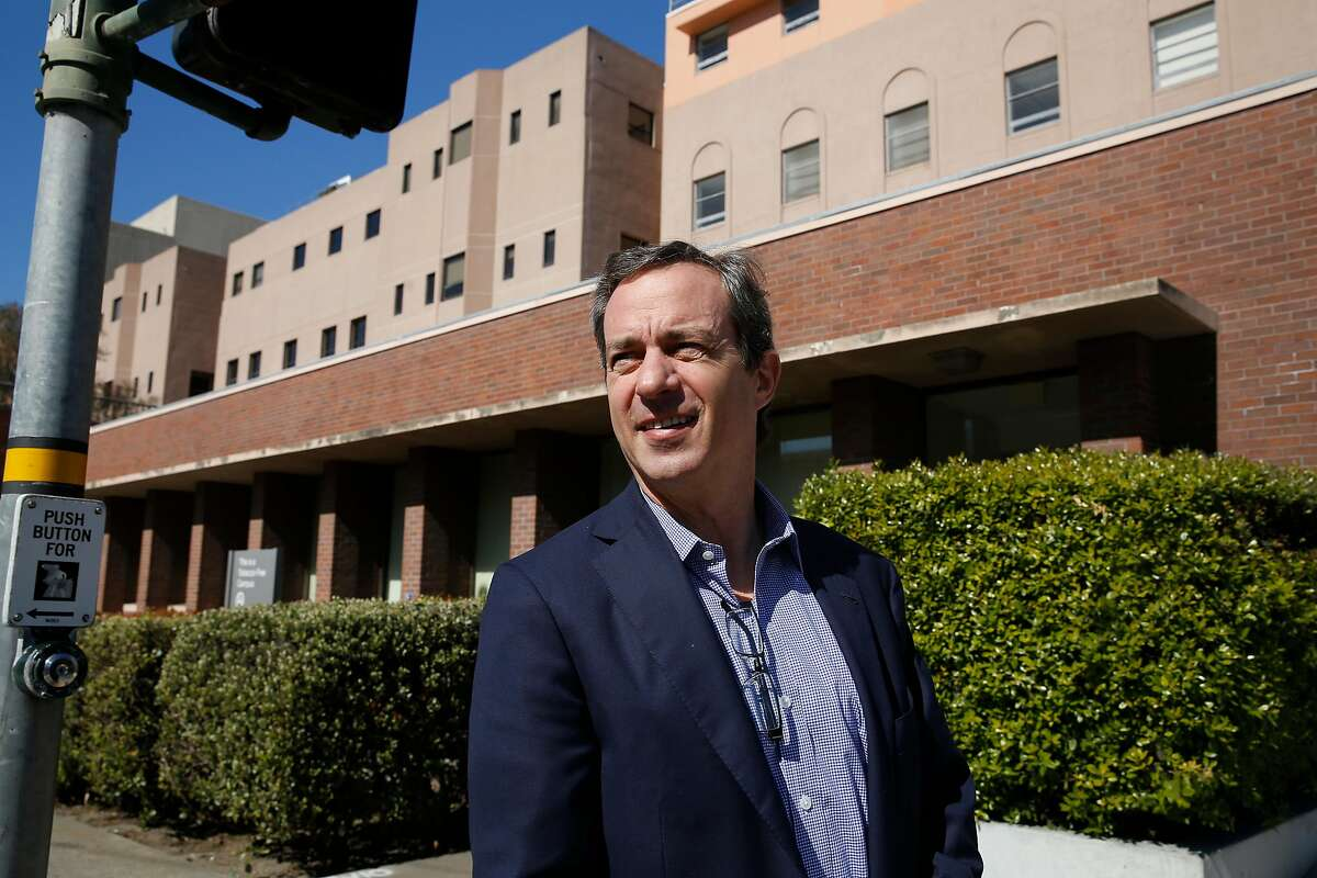 Matt Fields, president TMG Partners, walks along California Street past the California Pacific Medical Center on Wednesday, February 26, 2020 in San Francisco, Calif. The California Pacific Medical Center California campus is planned to be redeveloped.