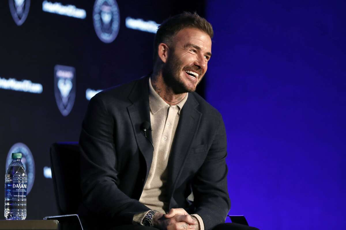 David Beckham, Inter Miami CF co-owner, is interviewed during the Major League Soccer 25th Season kickoff event, in New York, Wednesday, Feb. 26, 2020. (AP Photo/Richard Drew)