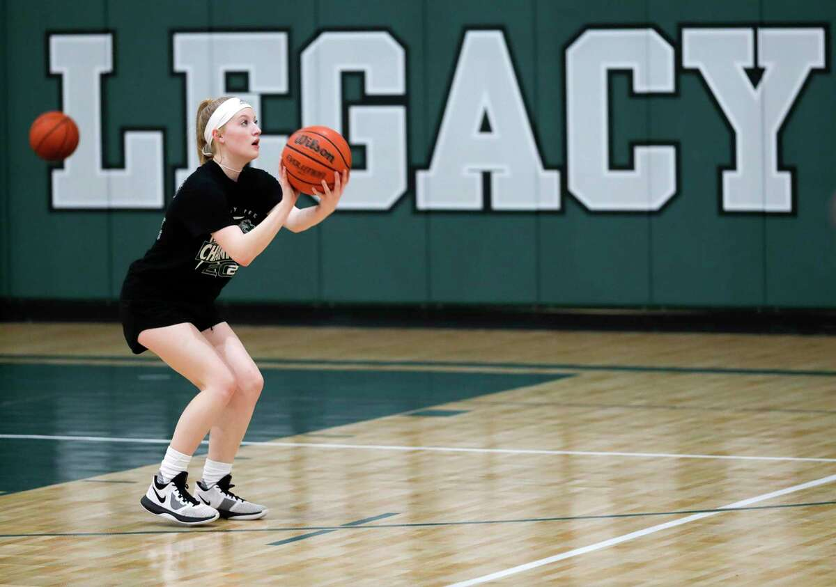 Megan McDonald shoots a free throw during girls basketball practice at Legacy Preparatory Christian Academy, Friday, Feb. 21, 2020, in Magnolia.