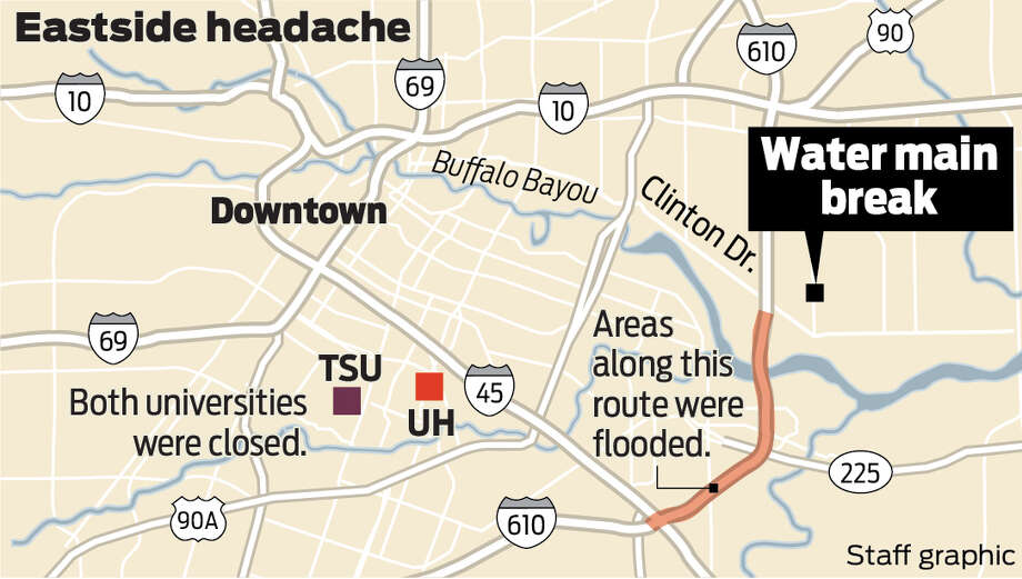 Areas along the route that flooded. Photo: Ken Ellis/Staff