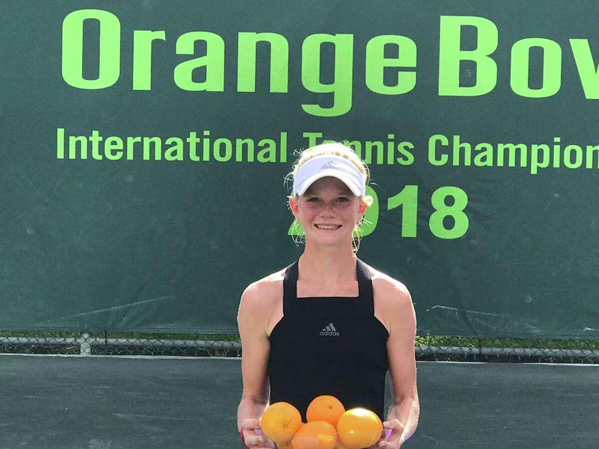 Madison Sieg of Greenwich won the Orange Bowl International Tennis Championships in Florida in 2018.