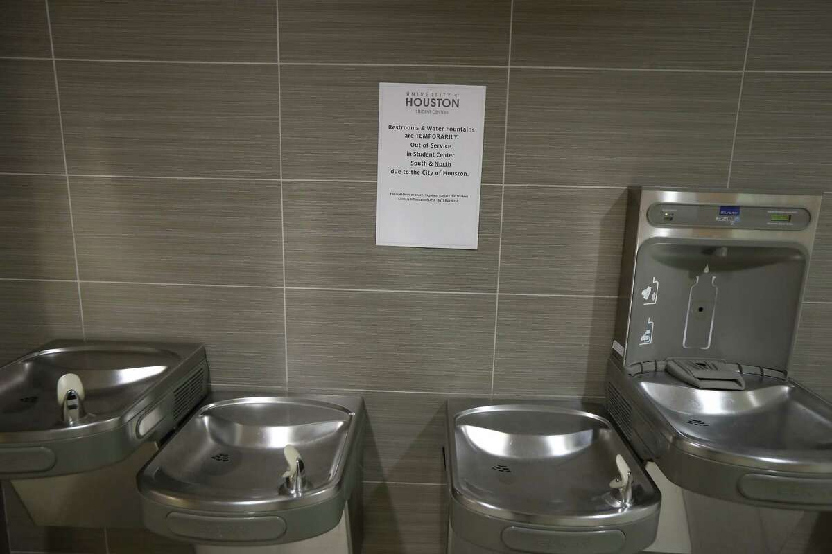 The University of Houston Student Center water fountains were closed due to a water main break Thursday, Feb. 27, 2020, in Houston.
