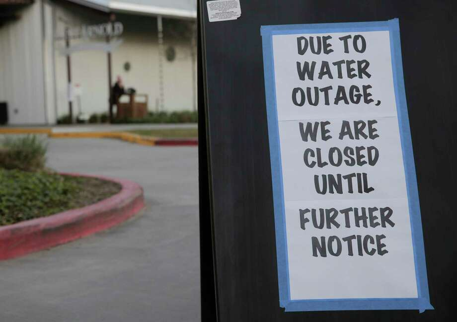 A sign on the outside the parking lot of St. Arnold's Brewery  in Houston following the city's water main break on Thursday, Feb. 27, 2020. Photo: Elizabeth Conley, Staff Photographer / © 2020 Houston Chronicle