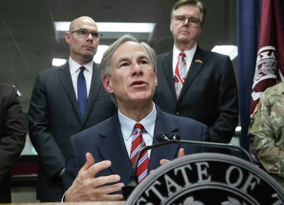 Gov. Greg Abbott answers media questions on coronavirus as he and Lt. Gov. Dan Patrick meet with public officials at the State Operations Center in Austin on Feb. 27, 2020. Photo: Tom Reel, San Antonio Express-News / Staff Photographer / **MANDATORY CREDIT FOR PHOTOG AND  SAN ANTONIO EXPRESS-NEWS/NO SALES/MAGS OUT/TV