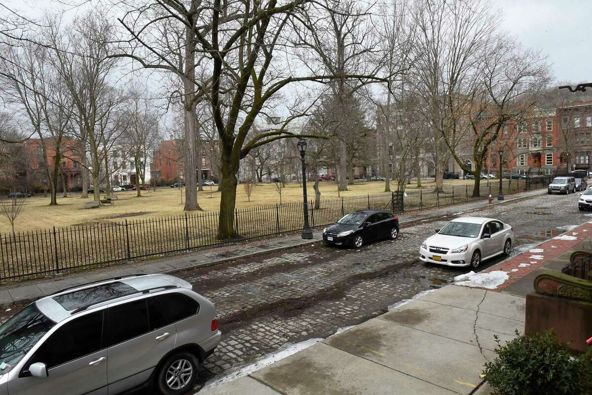 Washington Park has been identified as one of the sites for filming The Gilded Age TV show on HBO on Thursday, Feb. 27, 2020 in Troy, N.Y. (Lori Van Buren/Times Union)