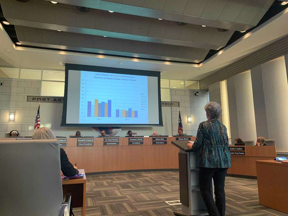 Kathy McEwen presents the 2018-19 TAPR Report at a hearing on Feb. 27. Photo: Isaac Windes