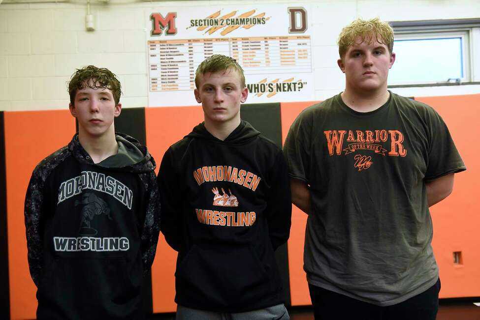 Mohonasen wrestlers, from left, Clayton O'Connor, Jacob Deguire and Camrin Russell during practice on Wednesday, Feb. 26, 2020 in Rotterdam, N.Y. (Lori Van Buren/Times Union)