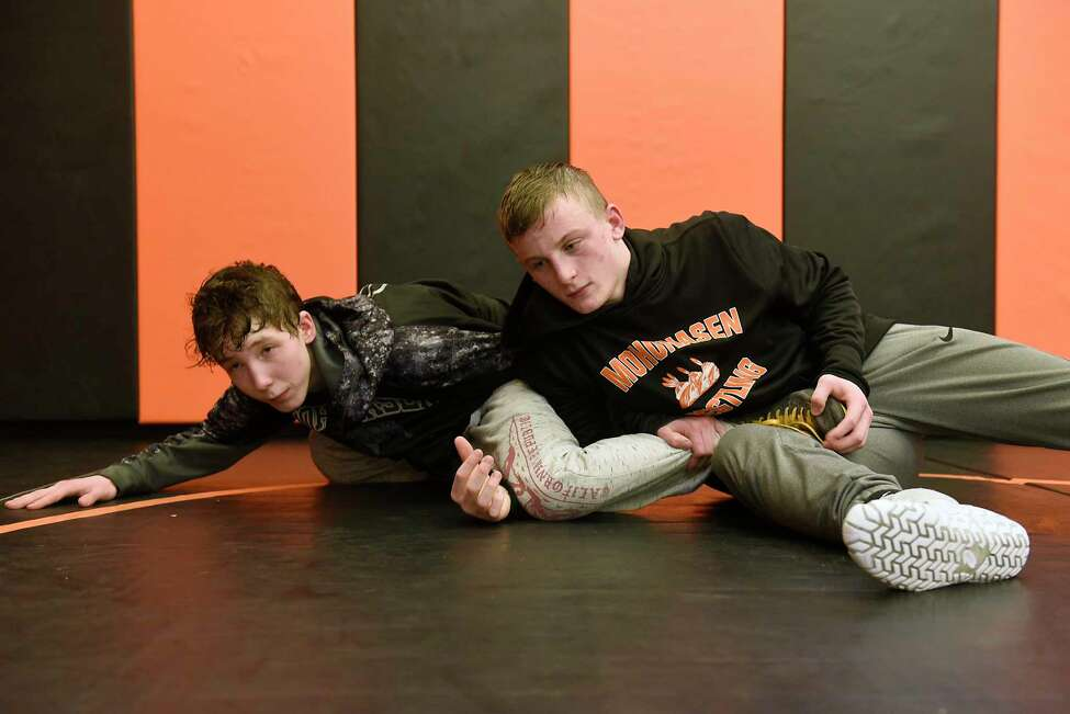 Mohonasen wrestlers Clayton O'Connor, left, and Jacob Deguire are seen during practice on Wednesday, Feb. 26, 2020 in Rotterdam, N.Y. (Lori Van Buren/Times Union)