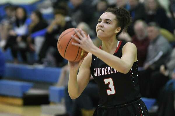 Guilderland's Valencia Fontenell-Posson makes a three pointer during a game against Saratoga on Thursday, Feb. 27, 2020 in Saratoga Springs, N.Y. (Lori Van Buren/Times Union)