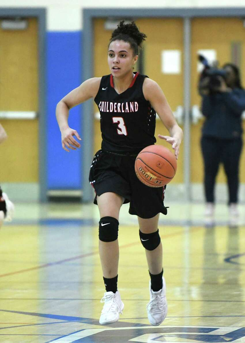 Guilderland's Valencia Fontenell-Posson brings the ball up the court during a game against Saratoga on Thursday, Feb. 27, 2020 in Saratoga Springs, N.Y. (Lori Van Buren/Times Union)