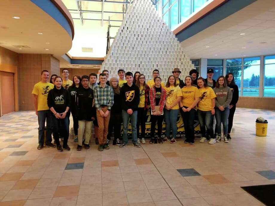 Bullock Creek Team 3770, BlitzCreek is pictured during the 2020 FIRST Robotics Competition Kickoff at Bullock Creek High School with their World Record Pyramid. (Photo provided)