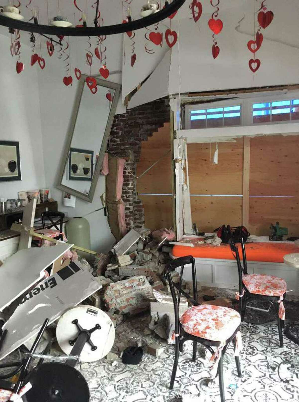 The inside of Chocoylatte Gourmet was severely damaged after the shop was hit by a car late on the evening of Feb. 6.