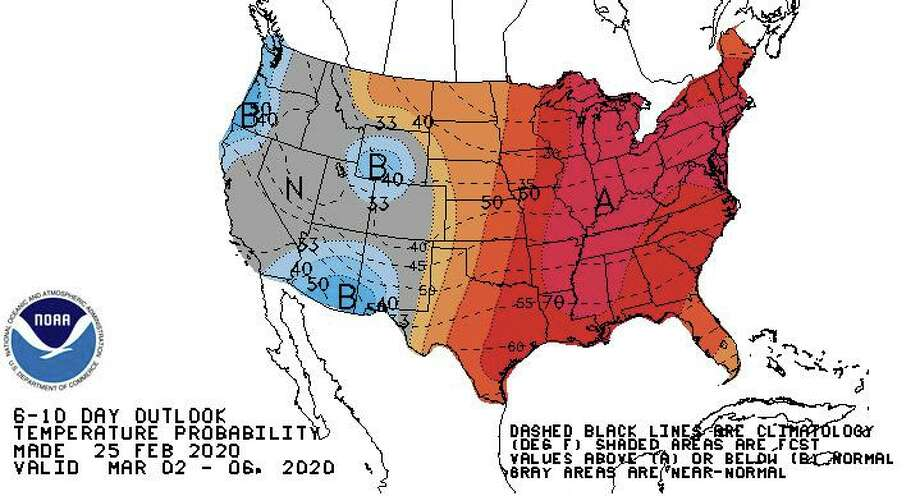 A relatively wet start to March appears to be the most likely scenario across much of the country, while above-normal temperatures are favored for most areas east of the Rockies. Photo: Climate Prediction Center