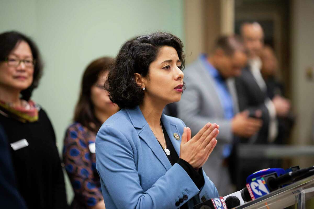Harris County judge Lina Hidalgo, shown here at a news conference last month, urged local residents Thursday to continue taking precautions after an elderly Fort Bend County man tested positive for coronavirus.