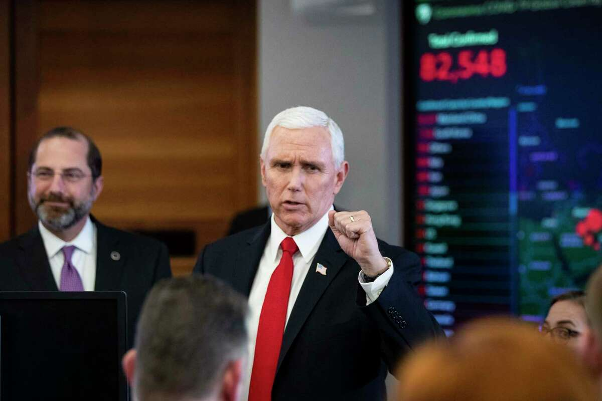 Vice President Mike Pence speaks during a briefing on the coronavirus in the secretary's operations center at the Department of Health and Human Services in Washington, Feb. 27, 2020.
