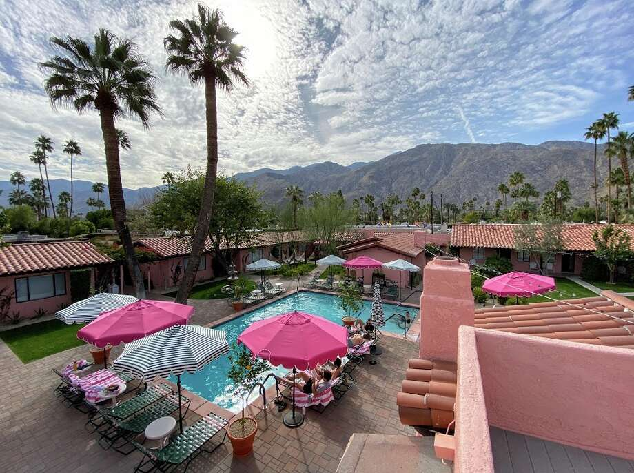 """""""The (hotel) properties that will recover the fastest are those that are located in drive-to markets"""" such as Palm Springs. Pictured: Interior courtyard and pool at Les Cactus in Palm Springs, California Photo: Chris McGinnis"""