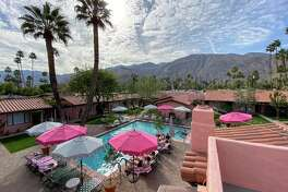 Interior courtyard and pool at Les Cactus in Palm Springs, California