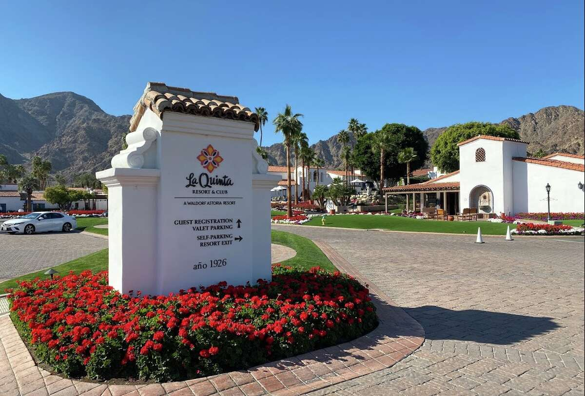 Entering the La Quinta Resort in La Quinta, Calif., which is now part of Hilton's Waldorf Astoria brand.