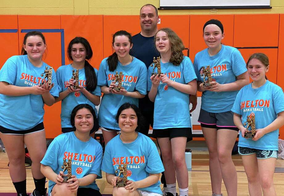 Team Mercury captured the Shelton Rec Varsity League title. Team members (front row) are Selin Ho and Sena Ho; (second row) Abby Montero, Elena Salluhi, Brielle Laferriere, Katie Splan, Olivia Niedzwiecki and Salina Clemente; (third row) coach Brett Laferriere. Photo: Contributed Photo / Shelton Recreation Department / Shelton Herald