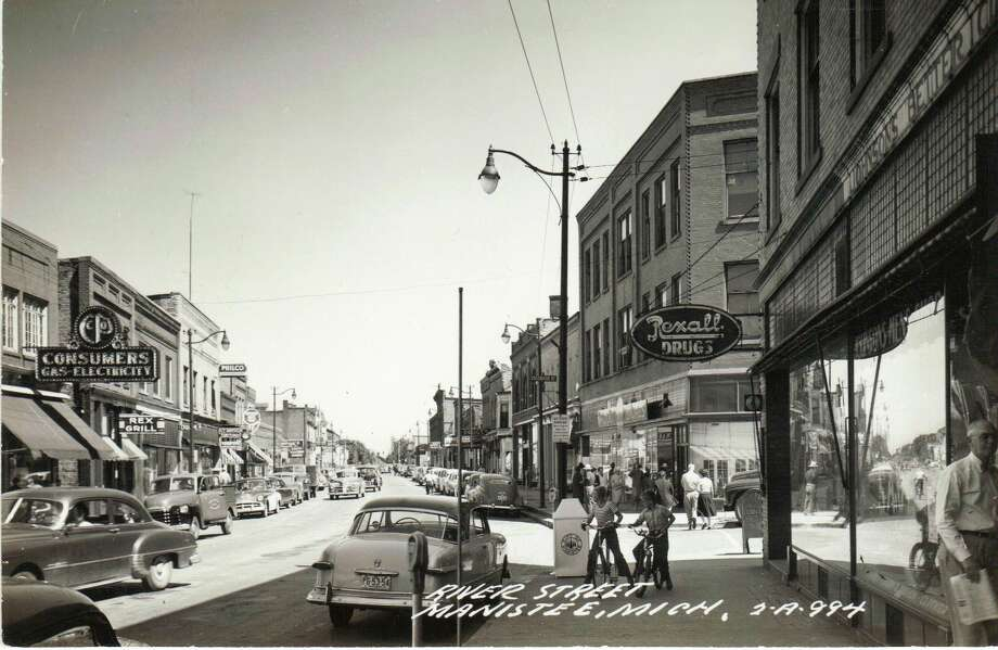 This photo shows a busy summer day on River Street in the 1950s.