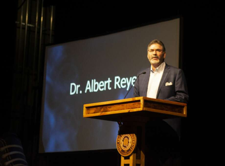 "Albert Reyes, president of Buckner International, spoke to Wayland students in chapel on Wednesday, asking them ""What does the world need now?"" Photo: Courtesy Photo/WBU/Jonathan Petty"