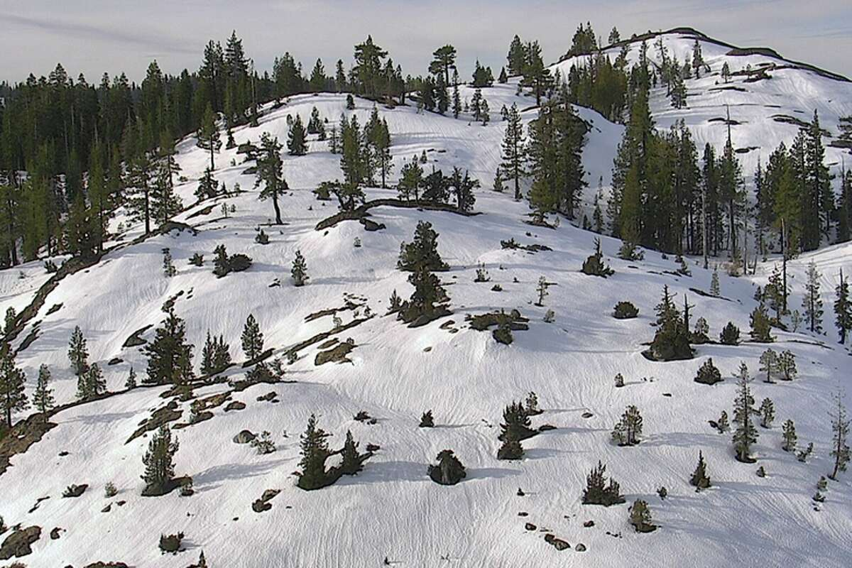 Views from the Nevada Seismological Laboratory webcam at Cisco Butte in Placer County on Feb. 28, 2020. The Sierra Nevada is expected to receive its first snowfall in several weeks starting on Saturday.